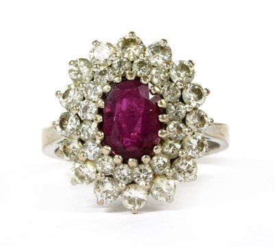 Lot 45-A white gold ruby and diamond cluster ring