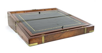 Lot 257 - A mahogany and brass writing box