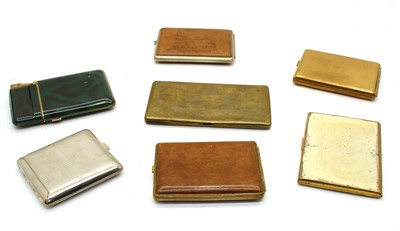Lot 19-A collection of seven 1940s commercially manufactured cigarette cases