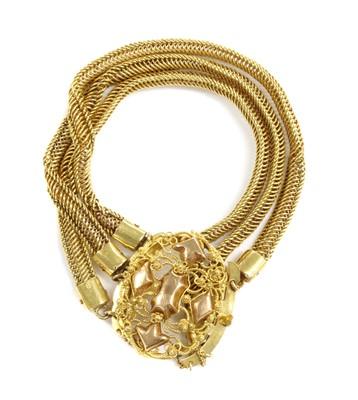 Lot 31 - A Dutch gold three row bracelet