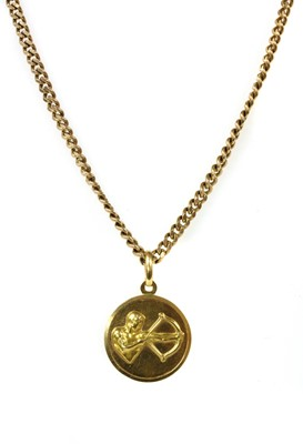 Lot 61 - An Italian gold Sagittarius zodiac pendant, by UnoAErre