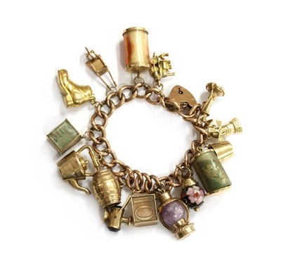 Lot 112 - A gold charm bracelet