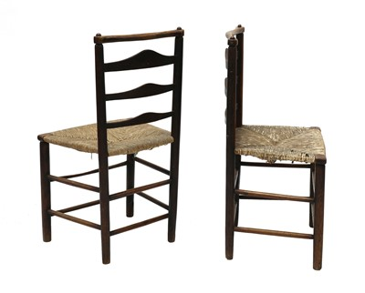 Lot 5 - A pair of ash and elm ladderback side chairs