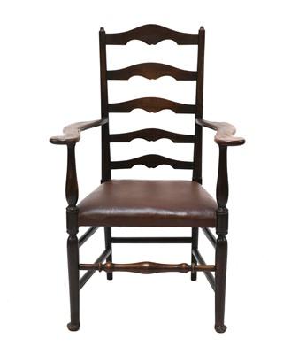 Lot 4 - An ash ladder back armchair