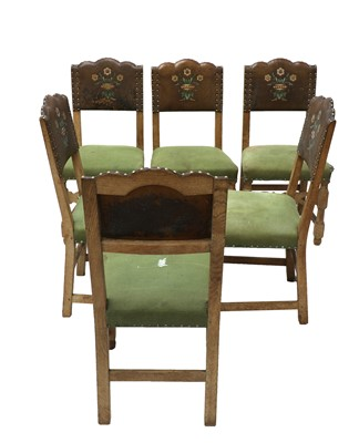 Lot 8 - A set of six limed oak dining chairs