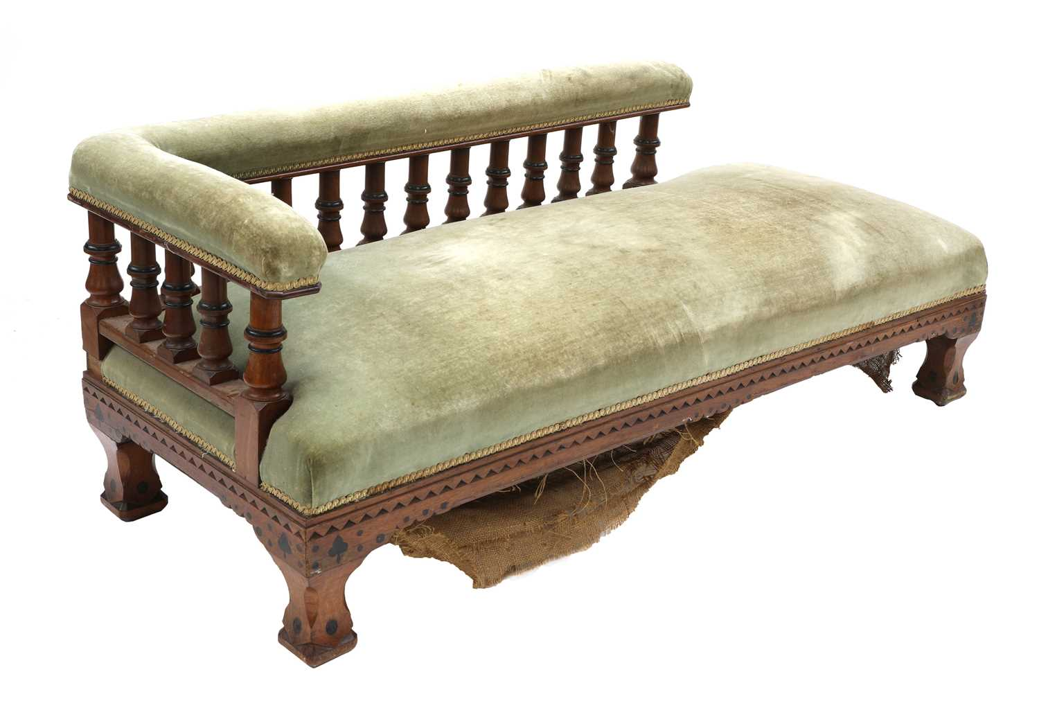 Lot 7 - A Victorian Gothic oak and ebonised daybed