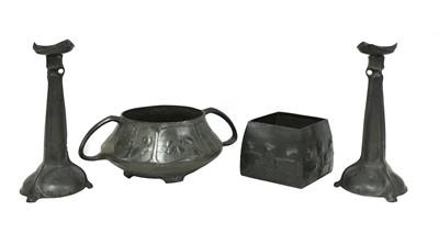 Lot 75 - A pair of Art Nouveau Kayserzinn pewter candlesticks