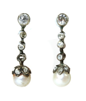 Lot 140 - A cased pair of early 20th century pearl and diamond drop earrings