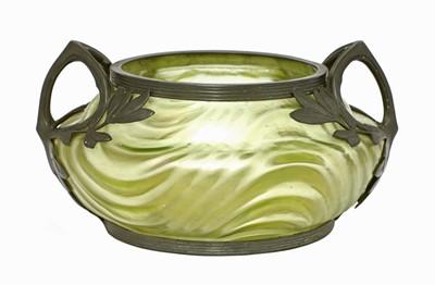 Lot 68 - An Art Nouveau Kralik iridescent moulded glass bowl