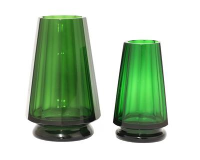 Lot 71 - Two Moser Karlsbad dark green glass vases
