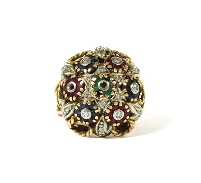 Lot 119 - A gold diamond, emerald, ruby and sapphire bombé cluster ring