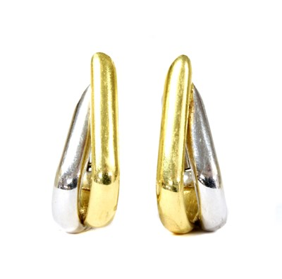 Lot 99 - A pair of 18ct white and yellow gold earrings, by Mappin & Webb