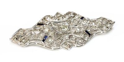 Lot 149 - An American Art Deco style diamond and sapphire plaque brooch/pendant