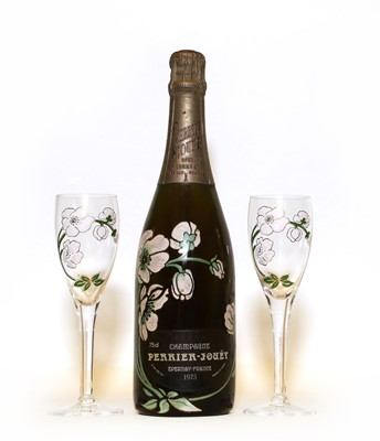 Lot 2 - Perrier-Jouët, Belle Epoque, Epernay, 1975, one bottle together with two champagne flutes