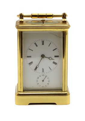 Lot 81 - A French brass cased carriage clock
