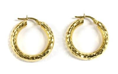 Lot 81 - A pair of Italian gold hoop earrings