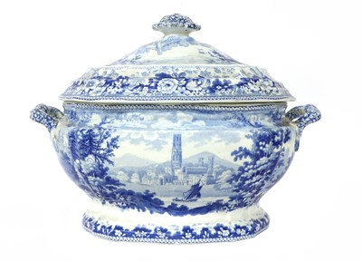 Lot 96 - A blue and white potter semi-china tureen and cover