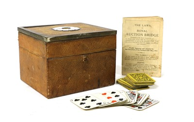 Lot 75 - A leather card box