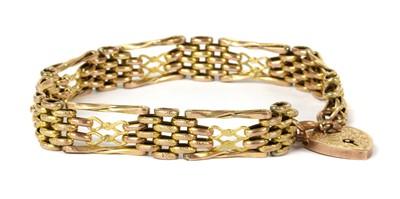 Lot 70 - A gold gate link bracelet