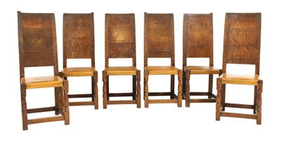 Lot 111 - Six Robert 'Mouseman' Thompson oak dining chairs