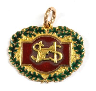 Lot 33 - A 9ct gold enamel long service medal