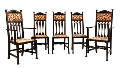 Lot 46 - Five Arts and Crafts oak dining chairs