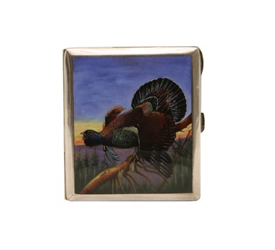 Lot 3 - A silver plated and enamel capercaillie cigarette case