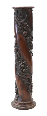 Lot 81 - A solid yew wood column