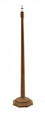 Lot 108 - A Robert 'Mouseman' Thompson oak standard lamp