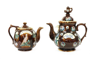 Lot 86 - Two barge teapots and covers
