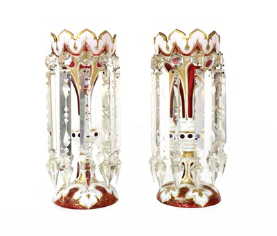 Lot 102 - A pair of ruby and overlaid white glass table lustres