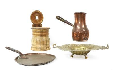 Lot 94 - A copper chocolate pot