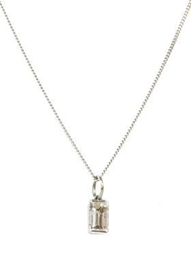 Lot 92 - A white gold single stone diamond pendant