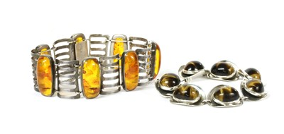 Lot 52 - A German silver and reconstituted amber bracelet