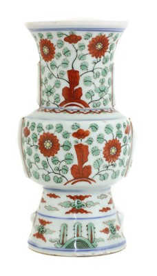 Lot 48 - A Chinese polychrome-decorated gu vase