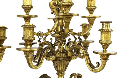 Lot 10 - A pair of marble, gilt and patinated bronze candelabra