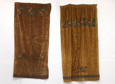 Lot 48 - Two near pairs of Arts and Crafts velvet curtains