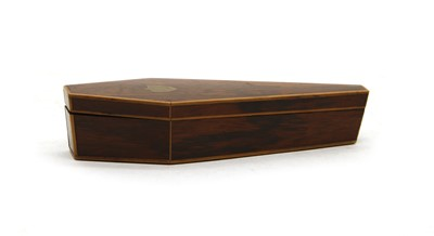Lot 76 - A miniature rosewood coffin