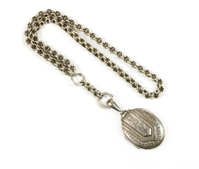 Lot 47 - A Victorian sterling silver locket and collar