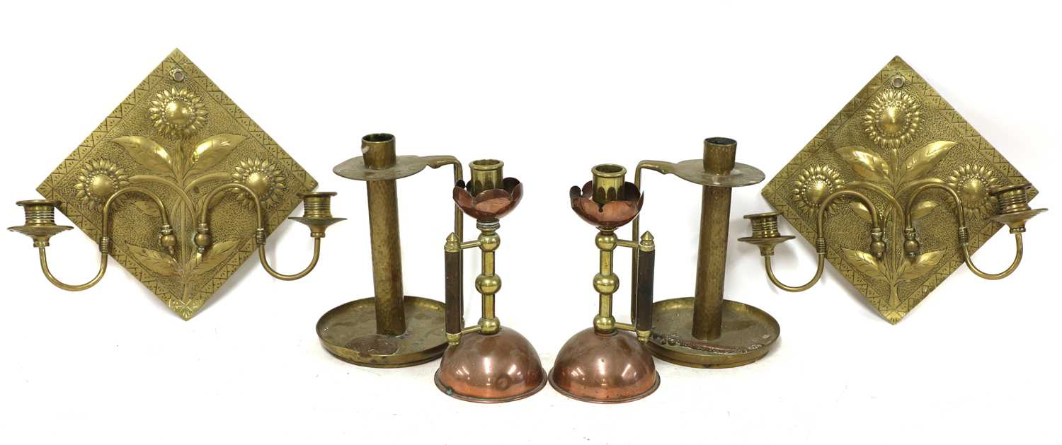 Lot 21 - A pair of Aesthetic engraved brass wall lights