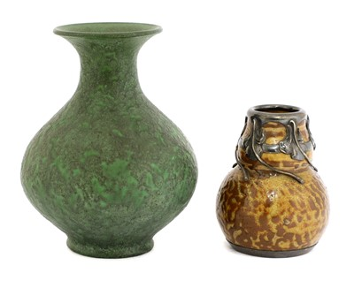 Lot 37 - A stoneware mottled green glazed vase