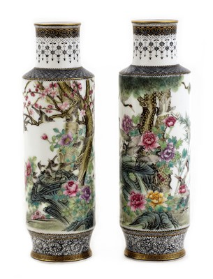 Lot 49 - A pair of Chinese famille rose vases