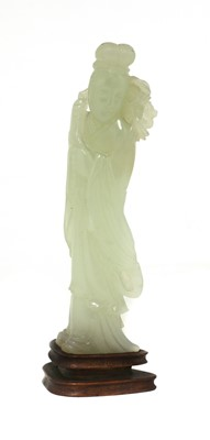Lot 91 - A Chinese jade figure