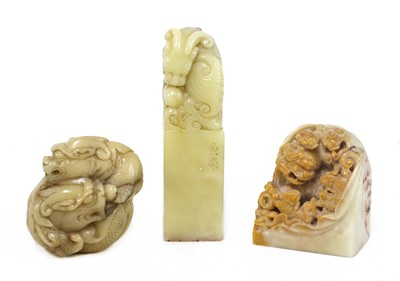 Lot 92 - Three Chinese soapstone carvings