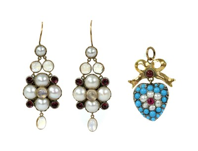 Lot 24 - A pair of gold and silver, moonstone, split pearl and garnet earrings