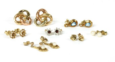 Lot 86 - Seven pairs of gold earrings