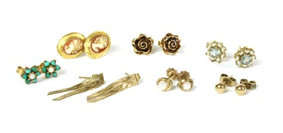 Lot 87 - Seven pairs of gold earrings