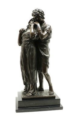 Lot 263 - 'Lovers' a modern bronzed figure group