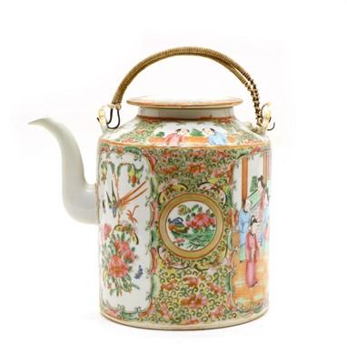Lot 21A - A famille rose canton porcelain tea kettle c. 1880