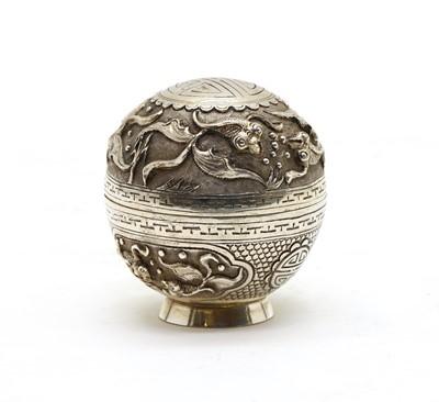 Lot 50 - A small globular shaped antique Chinese silver box